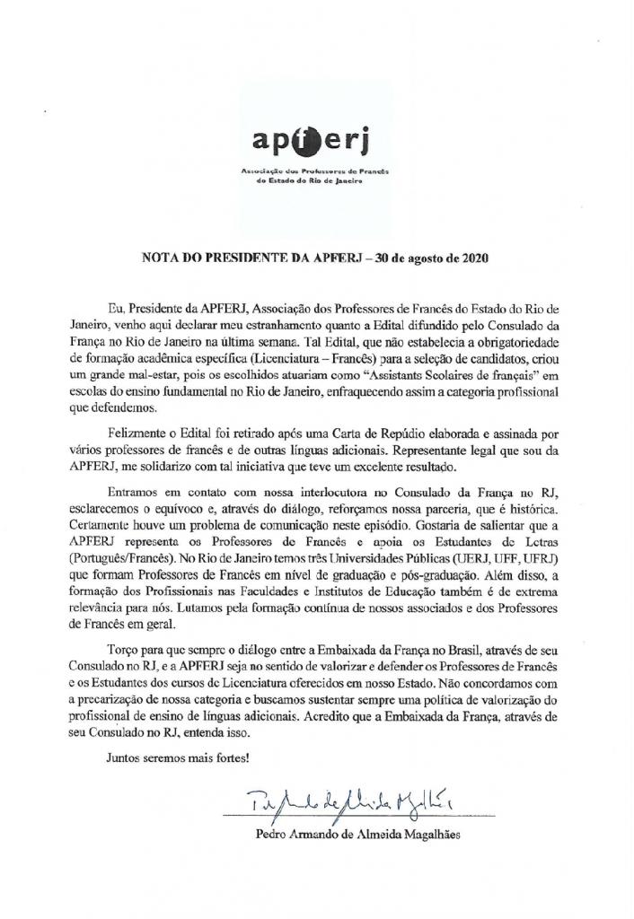 Nota do presidente da APFERJ em 30 de agosto de 2020